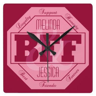 BFFの友情-名前をカスタムする-柱時計 スクエア壁時計