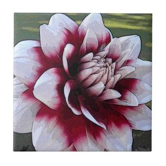 BH-赤と白のダリアの花柄のタイル タイル