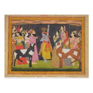「BhagavからのKrishnaの持ち上がる山Govardhana、 ポストカード