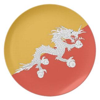 Bhutaneseの旗のプレート プレート