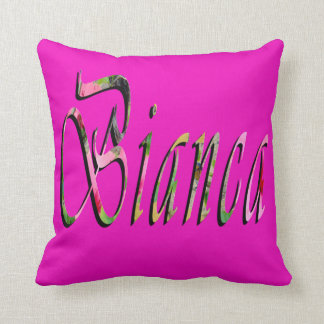 Biancaの名前、ロゴ、マゼンタの投球のクッション クッション