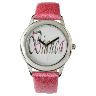 Biancaの名前、ロゴ、女の子のピンクのグリッターの腕時計 腕時計