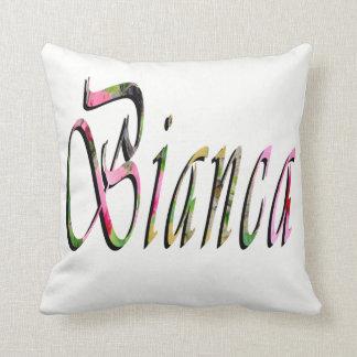 Biancaの名前、ロゴ、白い投球のクッション クッション