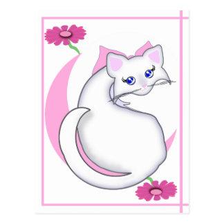 Biancaの漫画の子猫はピンクwの花の郵便はがきをくすぐりました ポストカード