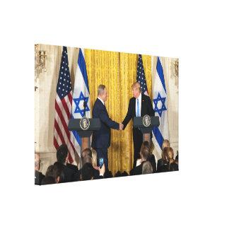 Bibiネタニヤフが付いているイスラエル共和国のドナルド・トランプ キャンバスプリント