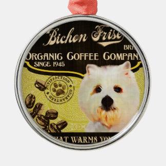 Bichon Friseのブランド- Organic Coffee Company メタルオーナメント