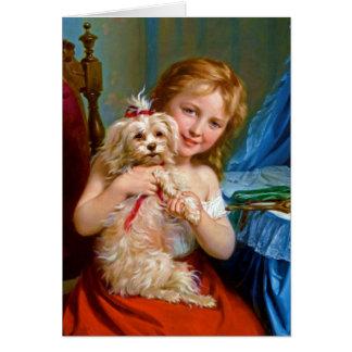Bichon Frise (犬)の~を持つ若い女の子 カード