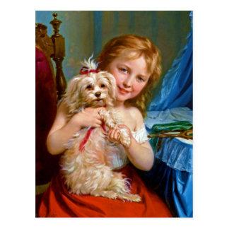Bichon Frise (犬)の~を持つ若い女の子 ポストカード