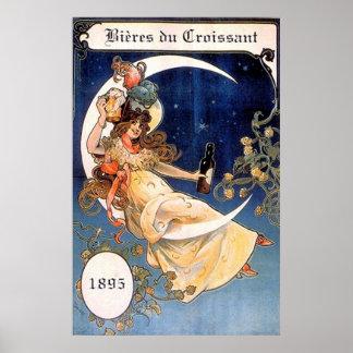 Bieres du Croissantの1895年のヴィンテージのプリント ポスター