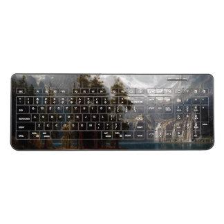 Bierstadtの山脈mountains湖の無線電信のキーボード ワイヤレスキーボード