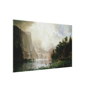 Bierstadt著シエラネバダ山脈山の中 キャンバスプリント
