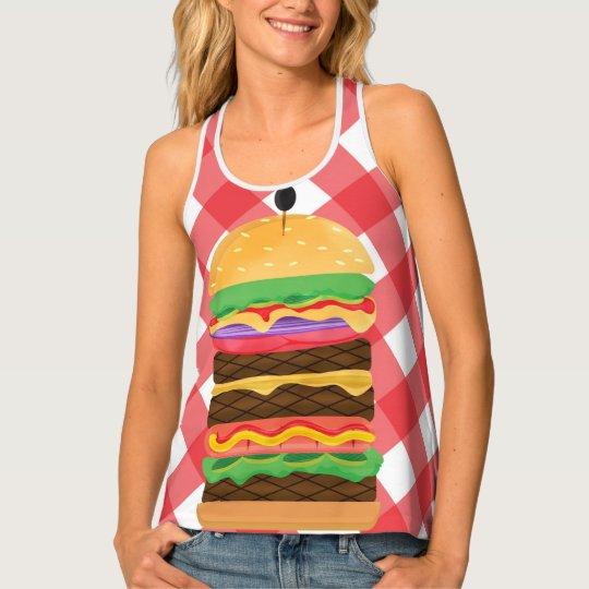 Big Hamburger Summer Burger Red & White Gingham タンクトップ