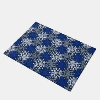 Big Snowflakes Mod Winter Door Mat ドアマット