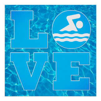 Big Swim LOVE Pool Poster for Swimmers & Coaches ポスター