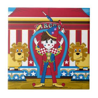 Bigtopのごまかすサーカスのピエロおよびライオン タイル