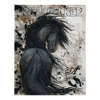 BiHrLe著威厳のあるなFriesianの黒の種馬の馬 ポスター