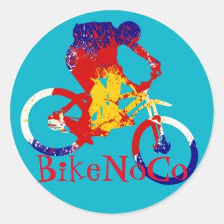 BikeNoCoコロラド州の旗のステッカー ラウンドシール