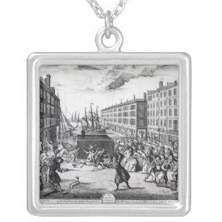 Billingsgate 1736年の概観そしてユーモア シルバープレートネックレス