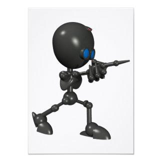 Bionic男の子3Dのロボット-指撃ちます-オリジナル 11.4 X 15.9 インビテーションカード