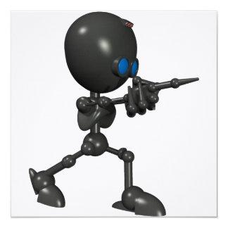 Bionic男の子3Dのロボット-指撃ちます-オリジナル 13.3 スクエアインビテーションカード