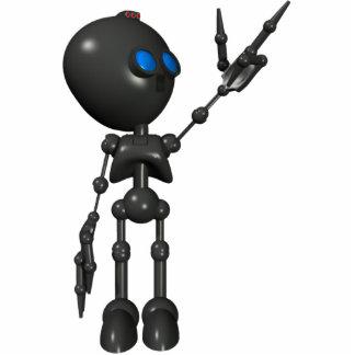 Bionic男の子3Dのロボット-指2つを撃ちます-オリジナル 写真彫刻(台付き)