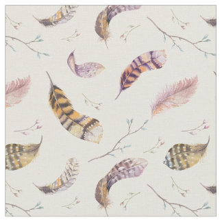 Bird Nature Feathers and Flowers Boho Pattern ファブリック