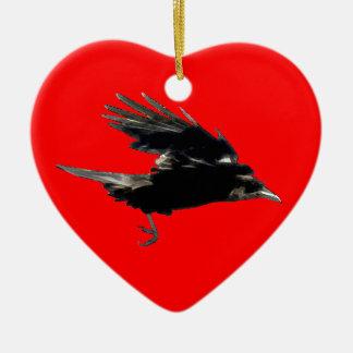 Birdloversのための飛んでいるで黒いカラスの芸術 セラミックオーナメント