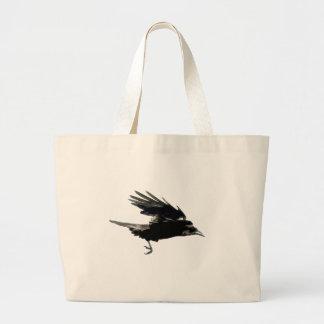 Birdloversのための飛んでいるで黒いカラスの芸術 ラージトートバッグ