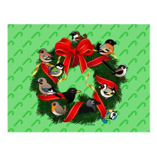 Birdorableのヨーロッパの庭の鳥のクリスマスのリース ポストカード