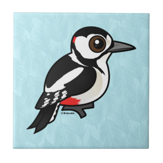 Birdorableの素晴らしい斑点を付けられたキツツキ タイル