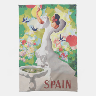 Birds Flowers Fiesta GardenスペインのSenorita キッチンタオル