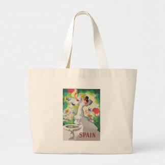 Birds Flowers Fiesta GardenスペインのSenorita ラージトートバッグ