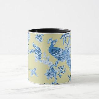 Birds_Toile_Blue及びマスタード マグカップ