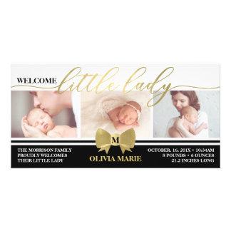 Birth Announcement, Little Lady, Faux Gold Foil カード