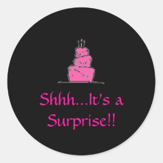 birthday%20cake、Shhh…それは驚きです!! ラウンドシール