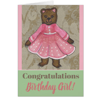 Birthday Card with a cute Bear Girl カード