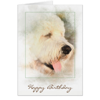 birthday-golden doodle in frame カード