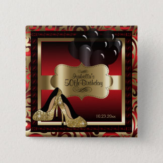 Birthday Party | Red and Gold 5.1cm 正方形バッジ