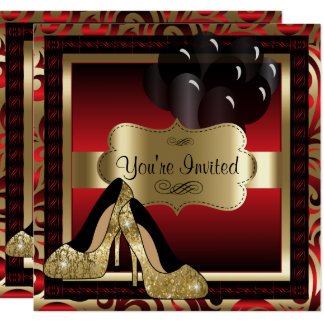 Birthday | Red & Gold High Heels Invitation カード