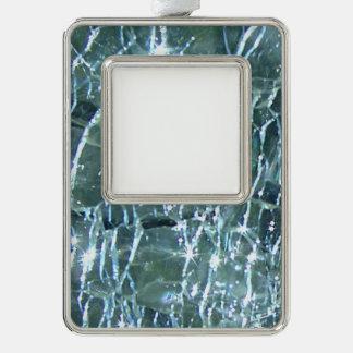 Birthstoneのデザインの3月の罅割れたガラスアクアマリン シルバープレートフレームオーナメント
