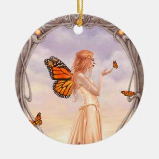 Birthstoneの淡黄色の妖精の円形の陶磁器のオーナメント セラミックオーナメント