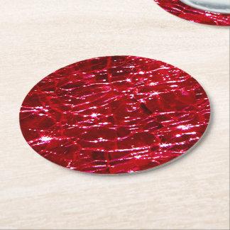 Birthstone罅割れたガラス7月のルビー色の赤 ラウンドペーパーコースター