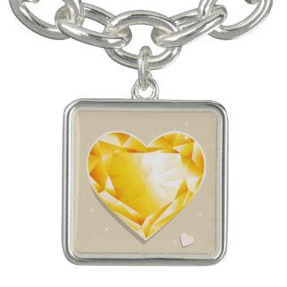 Birthstones 11月の淡黄色の金黄色いハート チャームブレスレット