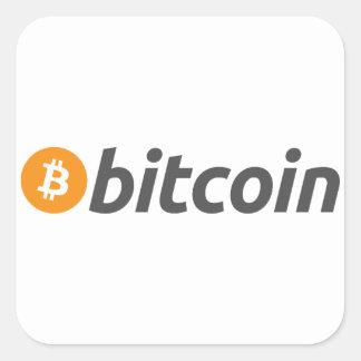 Bitcoinのロゴ + 文字 スクエアシール