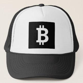 Bitcoinの正方形の白黒 キャップ