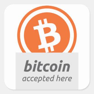 Bitcoinはステッカーをここに受け入れました スクエアシール