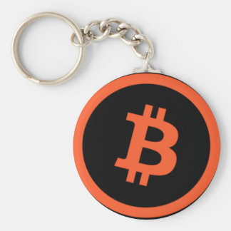 Bitcoin黒いおよびオレンジKeychain キーホルダー