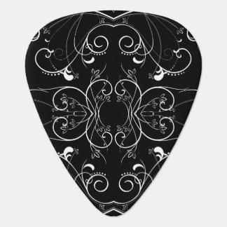 Blacの白の敏感な花の繰り返すパターン ギターピック