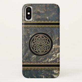 Black and Gold Metal Celtic Knot on iPhone X Case iPhone X ケース