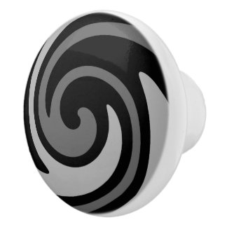 Black and gray modern abstract swirl セラミックノブ